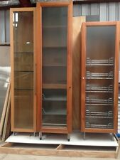 Tall Cherry Wood Pantry Cabinet with Glass Door and Pull-Out Shelving + Racks