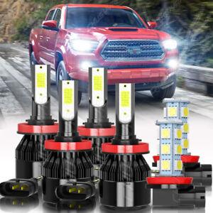 6PC 6000K Led Headlight Hi&Low Beam Fog Light Bulbs For Toyota Tacoma 2016-2021