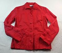Women's CHICO'S Size 0 SMALL Red Blouse Long Sleeve Top Shirt