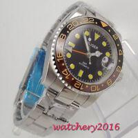 40mm Bliger black dial Datum Saphirglas GMT Automatisch Movement Uhr men's Watch