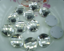 faceted round clear glass crystal rhinestone Faceted Jewels sew on silver bottom