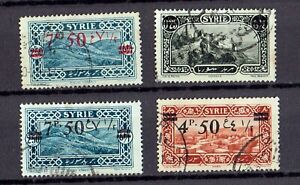 Syria, 1928,  4 used surcharged stamps. Rare