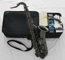 Professional Satin Black Nickel C Melody Saxophone Sax High F# 2 Neck With Case