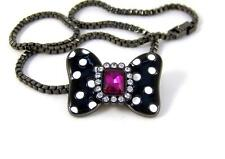 """DISNEY Couture MAWI Minnie 17"""" NECKLACE Hematite CRYSTAL Bow LIMITED EDITION"""