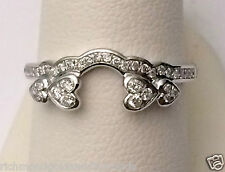 14k White Gold Diamonds Heart Solitaire Wrap Ring Guard Enhancer Jacket Hearts