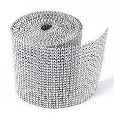 """4.75"""" x 1 yard Silver DIAMOND MESH WRAP ROLL SPARKLE RHINESTONE Crystal Ribbon"""