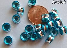 20 perles rondelles taillées BLEU 6x4mm Aluminium DIY création bijoux