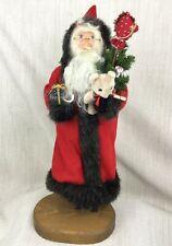 Vintage Fait à la Main Père Noël Décorations Santa en Bois Statue Ooak Figure