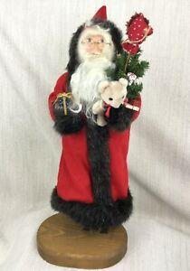 Vintage Fatto a Mano Babbo Natale Decorazioni IN Legno Statua Ooak Figure
