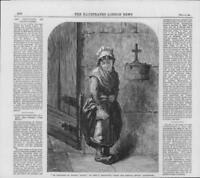1864 Antique FINE ART Print - Artist Emma Brownlow Thoughts of Charity (319)