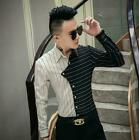 Men's New Design Cropped Stripe Long Sleeve Slim Dress Shirt Youth Party Tops