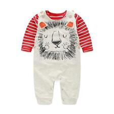 3PCS Newborn Baby Boys Girls Kids Outfits Clothes T-shirt Tops+Bib Pants+Hat Set