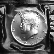 1964 Kennedy Mint Proof Silver Half Dollar in Original Flat Pack Cellophane