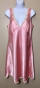 Victoria Secret Size M Pink Satin And Lace Slip Trim Short Nightgown