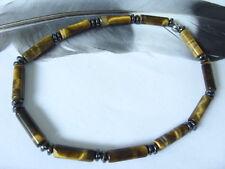 Unisex Tigerauge Zylinder Armband Armkette m.Hämatit Linsen Stretchband 20,5 cm