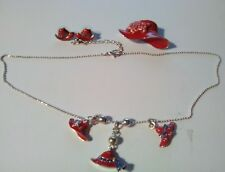 3 pc Red Hat Society Jewelry Necklace Earrings Brooch Tea Party Purple Rhineston