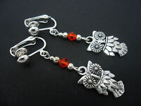 A PAIR OF  TIBETAN SILVER DANGLY OWL & RED BEAD  CLIP ON EARRINGS. NEW.