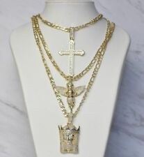 Cross 5mm Figaro Chain Pendant Necklace Set Men's Hip Hop Iced Out Mini Jesus
