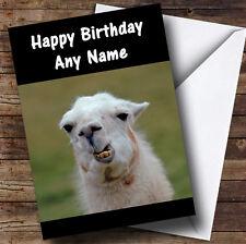 Funny Teeth Llama Personalised Birthday Greetings Card