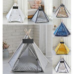 Paw Hut Portable Pet Teepee Tent Foldable Cat Bed Dog House Washable Cushion UK