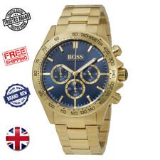 HUGO BOSS IKON 1513340 GOLD & BLUE STAINLESS STEEL CHRONOGRAPH MEN'S WATCH