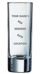 Pack of Twelve 2oz Shot Glasses With Personalised Hen Weekend Design