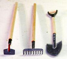 Dollhouse Miniatures Garden Tool Set, 3 Piece, Spade, Rake and Hoe