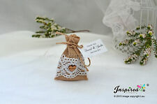 Hessian Mini Favor Bags 25 x Wedding Wooden Heart Cotton Lace Personalized Tags