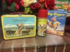 YEEHAW! VTG. 1950'S ROY ROGERS~DBL R BAR RANCH~LUNCH BOX & THERMOS W/BOOK~ NICE!