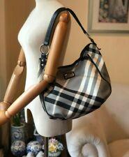 Authentic BurberryNova Check Black Leather Trim & Strap Large Hobo Shoulder Bag