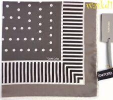 TOM FORD silk batiste TAUPE Pochette STRIPE BORDER Pocket Square NWT Authentic!