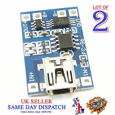2x 18650 5V Mini USB Lithium Battery Charger Board Module 1A