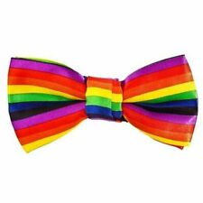 RAINBOW BOW Smart Tie Neck Mens Clip-on Satin Black Dickie Fancy Dress Wedding