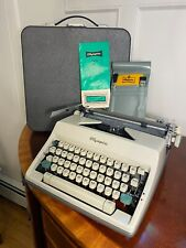 Vintage Working 1960s OLYMPIA SM9 De Luxe Gray Typewriter & Case Excellent Clean