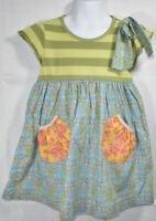 Girls BOUTIQUE MATILDA JANE GREEN STRIPED BLUE FLORAL Short Sleeve DRESS Sz 4