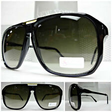 Mens Women LARGE OVERSIZED CLASSIC RETRO VINTAGE AVIATORS Style Black SUNGLASSES