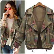 Women New Jackets Army Green Camouflage Coat  Zip Cardigans Denim Outwear CoXHuG