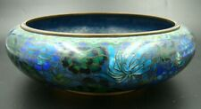 Rare Peoples Republic of China Cloisonne Enamel Bronze Bowl Blue Flowers Signed