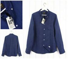 Camicie casual e maglie da uomo blu in lino con button down