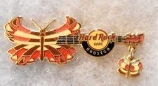 HARD ROCK CAFE HOUSTON BUTTERFLY DANGLER GUITAR SERIES PIN # 39280