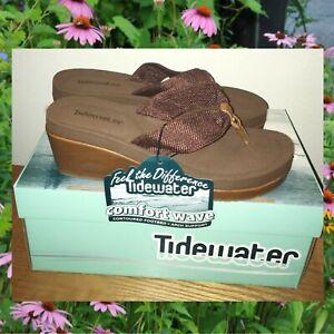 Tidewater Comfort Wave Beach Club Wide Width Thong Wedges Boho Heels Sandals NEW