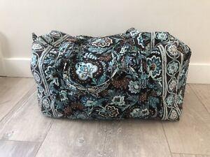 Vera Bradley Java Blue Brown Floral Duffel Overnight Weekend Bag Weekender