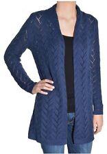 NEW Leo & Nicole Women's Open Front Long Pointelle Cardigan Sweater Ink Spot S