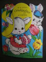 1940s vintage greeting card DA Line diecut EASTER 2 Granddaughter Bunny w Tulips