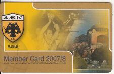 GREECE A.E.K. B.C. member card 2007-2008, unused