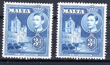 Malta 2 X 3d blue MNH SG223a KGVI  [M1901-4]