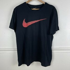 THE NIKE TEE Athletic Cut Black Big Red Swoosh T Shirt Size XL Crew Neck