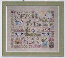 Sampler Printemps (spring) - patchwork style cross stitch chart - Jardin Prive