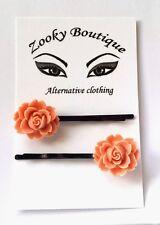 Coral Pink vintage rose flowers hair slides, grips, pins. Bridesmaid. 50's Gift.