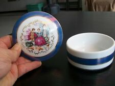 Empress by Haruta Blue Porcelain Round Trinket Box & Lid;JAPAN; Collectible;GIFT